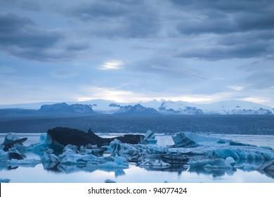Landscape scenery with a ice, Jokulsarlon, Iceland