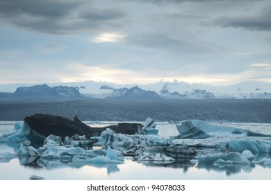 Landscape scenery with a ice, Jokulsarlon, Iceland