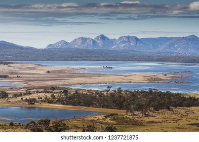 Landscape scenery with lakes in Tasmania Australia