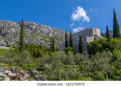 Landscape and scenery and Sokol Tower on a sunny spring day, Dunave, Croatia, Europe 1-5-2019