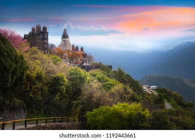Landscape scenery view of Old England Manor with sunrise sky background, Near Cingjing Farm and Evergreen Grassland, Nantou County, Taiwan, 2018