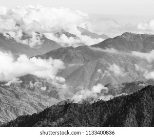 Landscape scenic of mountains around San Marcos in Guatemala in black and white