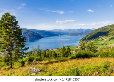 Landscape with scenic view on small village Utvik and Nordfjord in Norway, Nordfjord offers one of the finest Norwegian scenery.