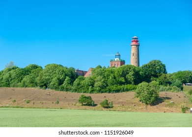 Landscape with Schinkelturm tower and new lighthouse at Cape Arkona in Putgarten on the island of Rügen