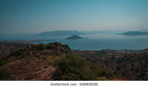 Landscape with sea bay on island of Aegina in Saronic Gulf in Greece