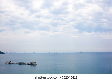 Landscape of sea with blue sky and cloud