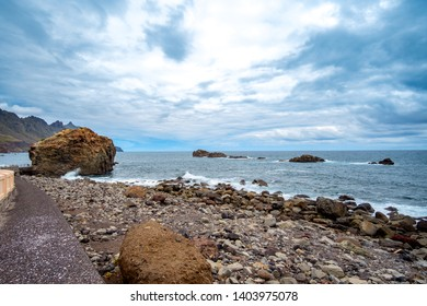 Landscape, sea and cliffs, a wide-angle overview of beach Roque de las Bodegas, or Playa del Roque, between Almáciga and Taganana, in the north the Anaga mountains.