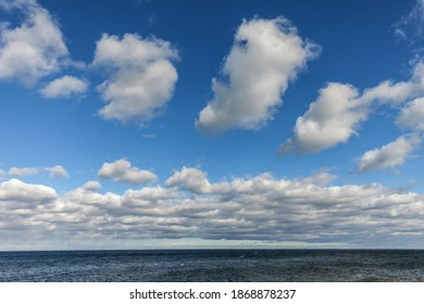 Landscape with sea and clouds, horizon.
