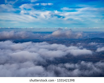 Landscape with a sea of clouds on the mountain in La Covatilla, Bejar (Salamanca)