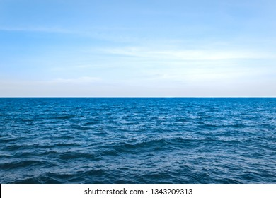 Landscape of sea horizon seascape under blue sky and cloud.
