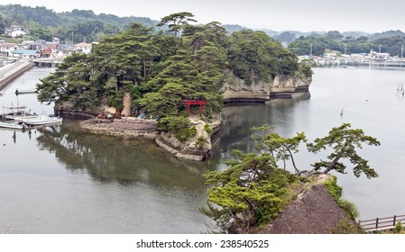 Landscape with sea, island and port in Matsushima, Japan.