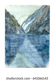 Landscape. Sea and mountains, Ferdy.  Watercolor hand painted illustration.