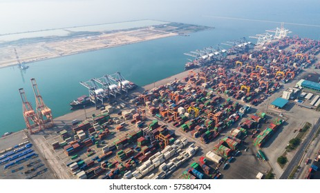 Landscape Sea ports on day time, Shipping seaport, Import seaport, Sea Transportation, Container yard, Thailand seaport