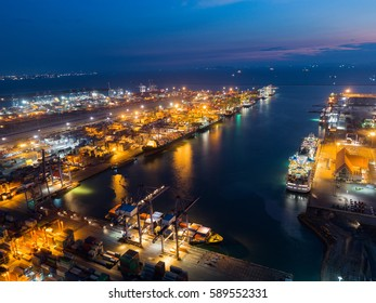Landscape Sea ports on night time, Shipping seaport, Import seaport, Sea Transportation, Container yard, Thailand seaport, night landscape