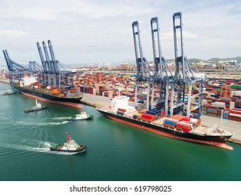 Landscape Sea ports on night time, Shipping seaport, Import seaport, Sea Transportation, Container yard, Thailand seaport, day time landscape