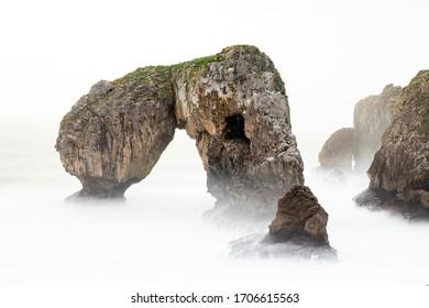 landscape of sea and rocks, Castro de las gaviotas in Asturias