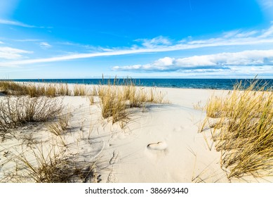 Landscape of sea sandy beach and sand dune with grass, Leba, Baltic Sea, Poland