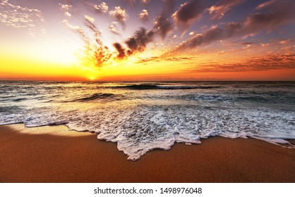 Landscape with sea sunset on beach.