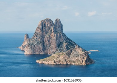 Landscape sea view of the mysterious island of Es Vedra from Cala d Hort. Ibiza, Balearic Islands, Spain