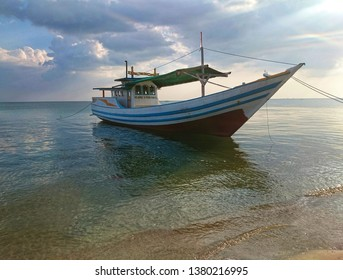The landscape of the sea landscape with white clouds, the waves of the sea, fishing boats, the morning sea, the beautiful sea coast, the coast of Jepara-Indonesia. 04-25-2019