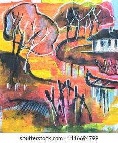 landscape seasonal illustration, mix media