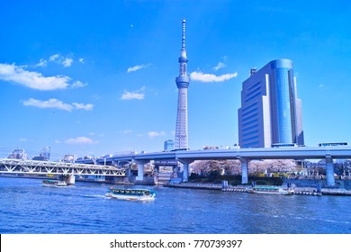 Landscape seen from the embankment of the Sumida River in Asakusa Spring