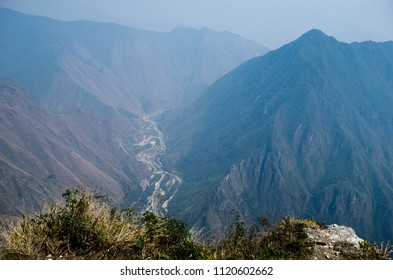 Landscape as seen from Machu Picchu Mountain during summer season in Peruvian Andes