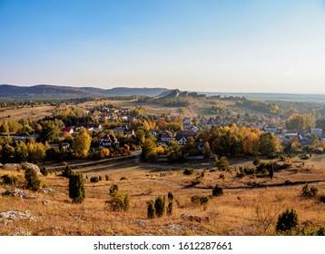 Landscape seen from Olsztyn Castle, Krakow-Czestochowa Upland or Polish Jurassic Highland, Silesian Voivodeship, Poland