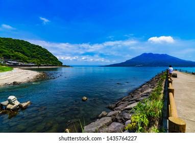 landscape of  Senganen gate and Sakurajima in Kagoshima Japan