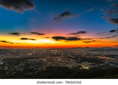 landscape of Seoul city skyline at night in Korea.