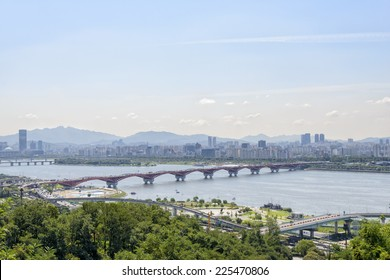 landscape of seoul city, view from Haneul park