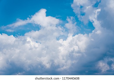 Landscape of serenity natural cloudscape background. Attractive photo of beautiful blue sky with cloudy. Outdoor at the daytime on summer day.