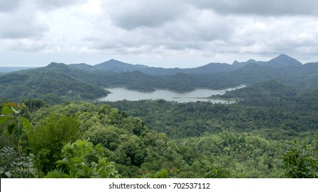 The landscape of the Sermo dam is seen from Kalibiru