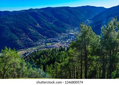 Landscape of the Serra da Estrela mountain range, along road N232, In Portugal