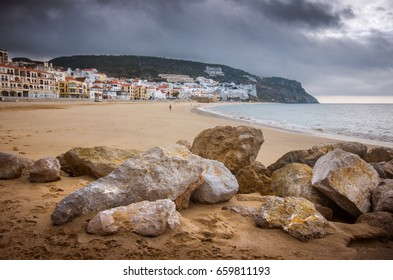 Landscape of Sesimbra beach - Portugal - on an overcast day