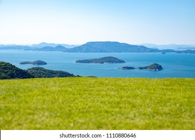 Landscape of the Seto Inland Sea(islands and lawn),Aji town,Takamatsu city,Shikoku,Japan