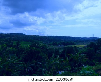 Landscape and Settlement Scene Patemon Village North Bali Indonesia
