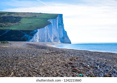 Landscape of Seven Sisters White Chalk Cliff in South Downs National Park, East Sussex, Eastbourne, England, United Kingdom