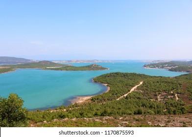 Landscape of Seytan Sofrasi (the Devil's footprint) seen from the view point near Ayvalik in Turkey.