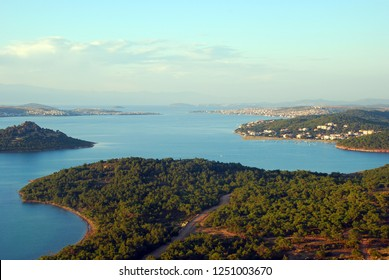 Landscape of Seytan Sofrasi (the Devil's Footprint) seen from touristic place at Ayvalik Balikesir in Turkey.