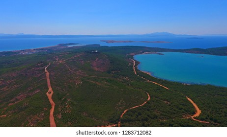 Landscape of Seytan Sofrasi (the Devils Footprint) seen from touristic place at Ayvalik Balikesir in Turkey.