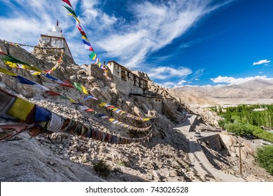 Landscape of The Shey Monasteryand the Shey Palace located on a hillock in Sheythe at south of Leh in Ladakh, northern India on the Leh-Manali road.