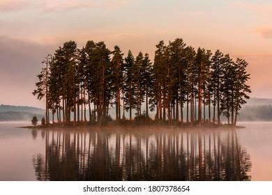 Landscape of Shiroka Polyana lake in Rhodope Mountains  at autumn time