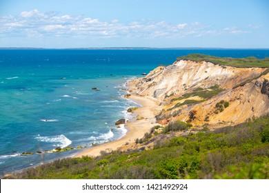 Landscape shot of Aquinnah (Gay Head) Cliffs in Martha's Vineyard, MA