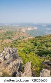 Landscape shot of beautiful Doucki Canyon in the Fouta Djalon highlands during Harmattan season, Guinea, West Africa