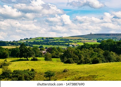 landscape shot of Blackburn, Darwen and Tockholes, lancashire, Uk, with Darwen (Jubilee) tower in the background.