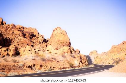Landscape shot of desert rock formations in Valler of Fire Nevada USA