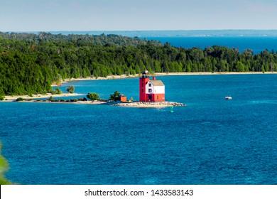 Landscape shot of the original lighthouse of Mackinac Island on a sunny day