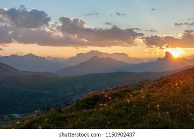 Landscape shot at the Passo di Giau, in the the Italian Dolomites, during the Golden Hour.