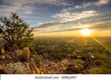 Landscape shot at sunrise of Phoenix, Arizona